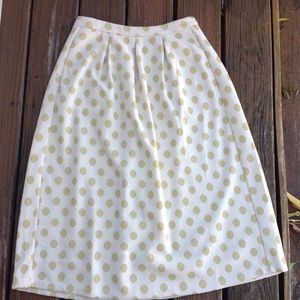 BODEN Gold Polka Dot Pleated Circle Skirt A Line